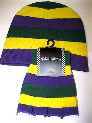 Mardi Gras Purple,Yellow,and Green Beanie Ski Cap with Matching Gloves Combo-New](Green And Yellow Gloves)