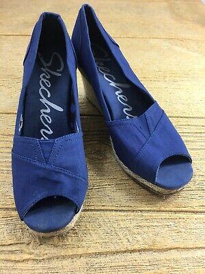 Skechers Womens Wedge Heels Size 8 Cloth Sketchers Shoes 3.5 inch Blue Skechers Womens Heels