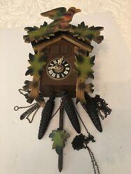 VINTAGE GERMAN CUCKOO CLOCK,SWISS MUSICAL MOVEMENT LADOR. ORANGE AND GREEN PAINT