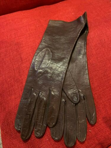 """Vintage Brown Leather Ladies Gloves (NEW), Italy, 11 1/4"""" length, Size 7"""