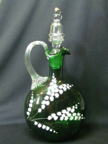 Antique Bohemian Green Glass Decanter w/ Stopper Lily Of The Valley - FLAWS