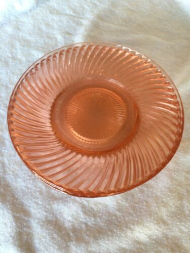 "6 Pink Depression Glass 6"" Plates (6) ""Swirl"" by Jeannette Glass Co."