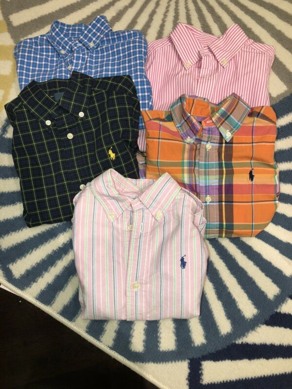 Toddler Plaid And Striped Button Down Long Sleeve Size 3T- Lot of 5. Pre-owned