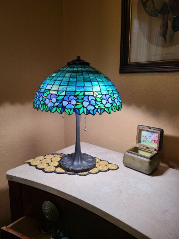 Antique Unique Lamp Pansy floral Handel Tiffany Studios Duffner era