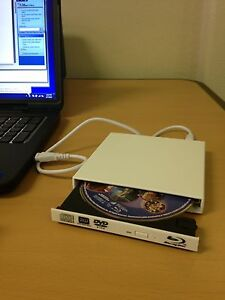 New USB External 6x Blu Ray Player & DVD/CD Burner -  Dell, HP, PC, Laptop White