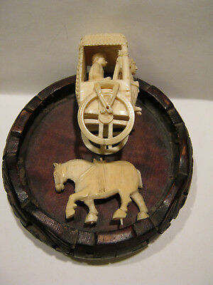 chinese antique carving horse and carriage also wood base
