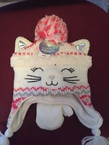 Toddler Girls Cat Pom Pom Hat And Mittens Set