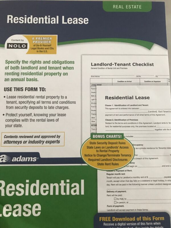 Residential Lease Agreement blank form legal documents office supplies Free ship
