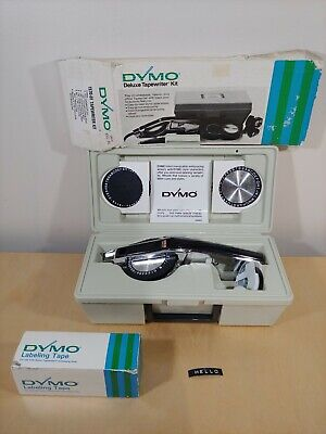 Dymo 1570 Deluxe Tapewriter Label Maker 3 Wheels 10 Rolls Tape Original Case