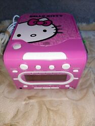 Sanrio HELLO KITTY Stereo CD Player AM/FM Dual Alarm Clock Radio Model KT2053A
