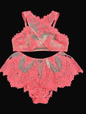 Victorias Secret Dream Angels Set Sheer Mesh Lace Bralette & Shortie Panty Large