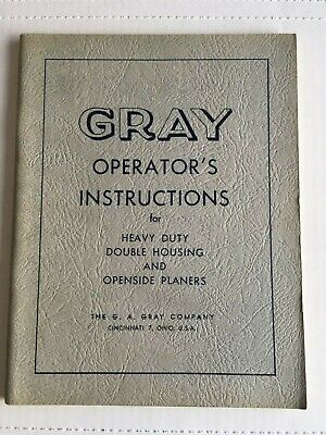 Gray Planers Operator Instructions