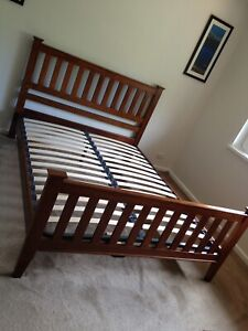 Queen size timber bed frame with slat base