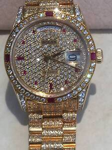 ROLEX 18ct Gold Super Custom PRESIDENT Diamonds & Rubies The Vines Swan Area Preview