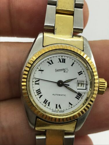 EBERHARD AUTOMATIC CAL.173-123 GOLD&STEEL LADY 26mm SWISS MADE.JUST SERVICED