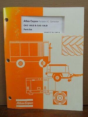 Oem Atlas Copco Qas 108jd Qas 138jd Portable Ac Generator Parts List Manual