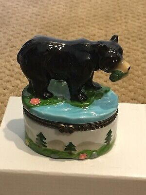 - Black Bear With Fish In Mouth Hinged Porcelain Trinket Box