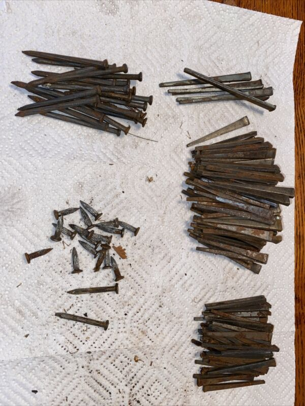 Lot of Vintage/Antique Primitive Square Barn Nails 2 1/4  31/4 3 1/2.  Round