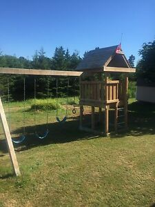 Pressure Treated Swing and slide set