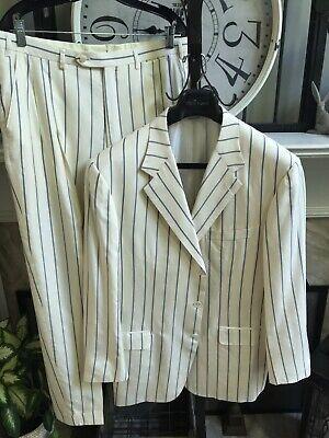 BRIONI men's suit made to measure silk cashmere cream w/blue stripes 44R