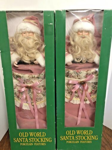 Old World Santa Stocking Victorian Pink Porcelain Features Christmas lot of 2