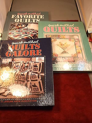 """LOT OF QUILTING BOOKS """"QUICK-METHOD QUILTS, GALORE, FAVORITE"""" 3 BOOKS TOTAL, VGC"""