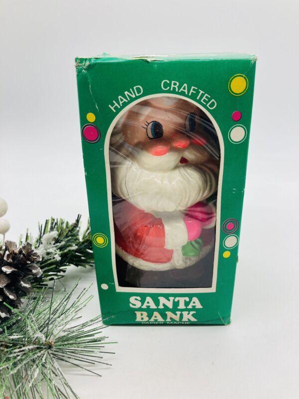 Vintage Christmas Ceramic Santa Claus Bank in Box