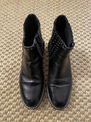 Zara Black Leather Ankle Boots Size 5 Uk/ 38