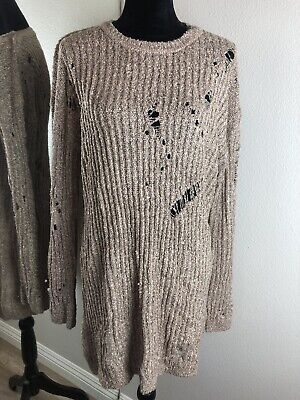 Planet Gold Brown Beige Knit Distressed Crew Neck Long Fall Sweater NWT -