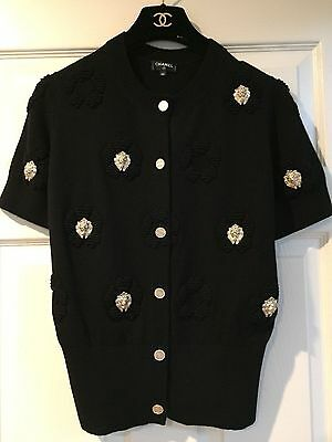 Chanel 17P NEW TAGS AMAZING Camellia Black Jacket  8 Gold CC Brooches FR38