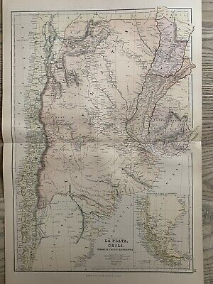 1882 ARGENTINA & CHILE ORIGINAL ANTIQUE COLOUR MAP BY W.G. BLACKIE 138 YEARS OLD