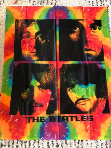 THE BEATLES Fab Four TIE DYE Wall Hanging TAPESTRY Rock Hippie Festival