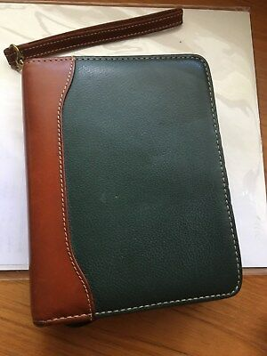 Franklin Quest Compact- 2tone Greenbrown Leather Zip Planner With Strap