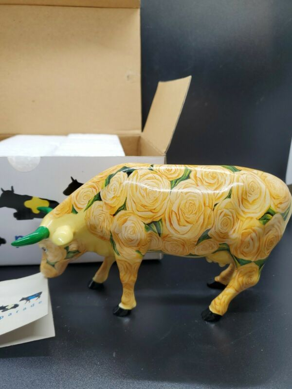 Yellow Rose of Texas #9165 Cow Parade Westland 2001 Retired with tag