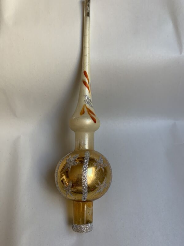 "VTG 10.5"" Gold Glass Stenciled CHRISTMAS TREE Topper #T"