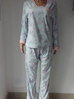 Aqua Floral Pyjama (Ladies Long Sleeve Fleece Pyjamas Sleepwear Aqua or Pink Floral print 10 - 20 )