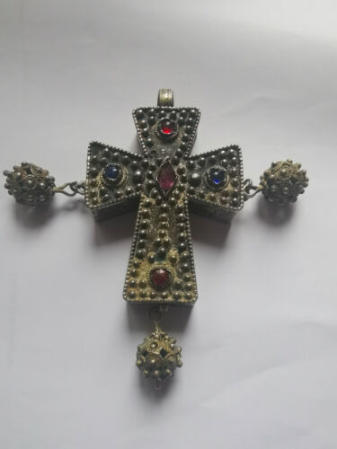 Medieval Silver Gilded Gemstones Cross 11 century