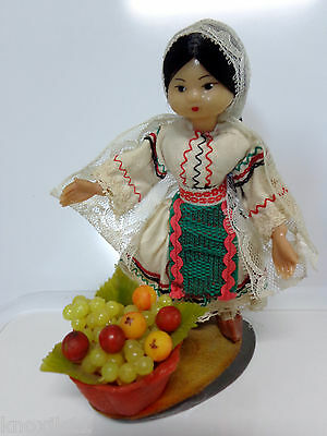 Vtg RUSSIAN PEASANT DOLL Plastic Lace Cloth Fruit Basket Wood Base USSR Tag EVC