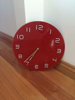 "Wall Clock RED & CHROME Brand New ""Degree"" Invermay Ballarat City Preview"