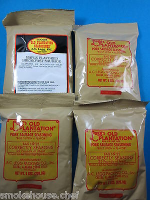 Variety 4 Packs Of Old Plantation Pan Sausage Seasoning For 100 Lbs Venison Pork