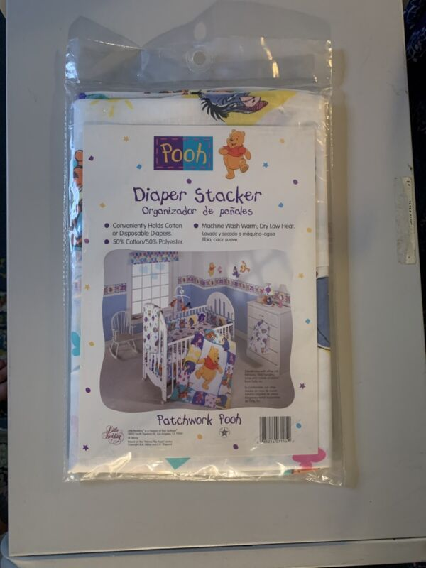 Vintage WINNIE THE POOH Disney Diaper Holder Stacker Classic Pooh Patchwork Pooh