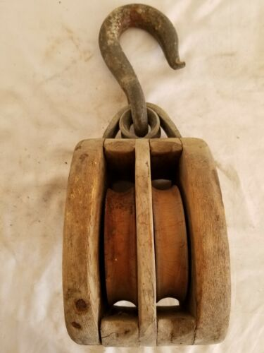 Antique Ship Tackle Block, Wood Pulley Sheaves, Hot Dipped Galvanized Iron Hook