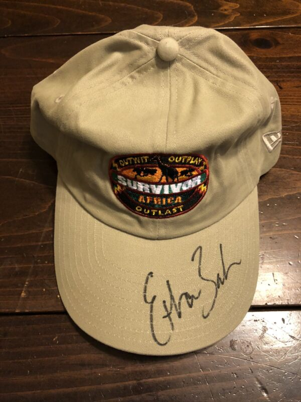 Survivor Africa tan hat/cap signed by Ethan Zohn