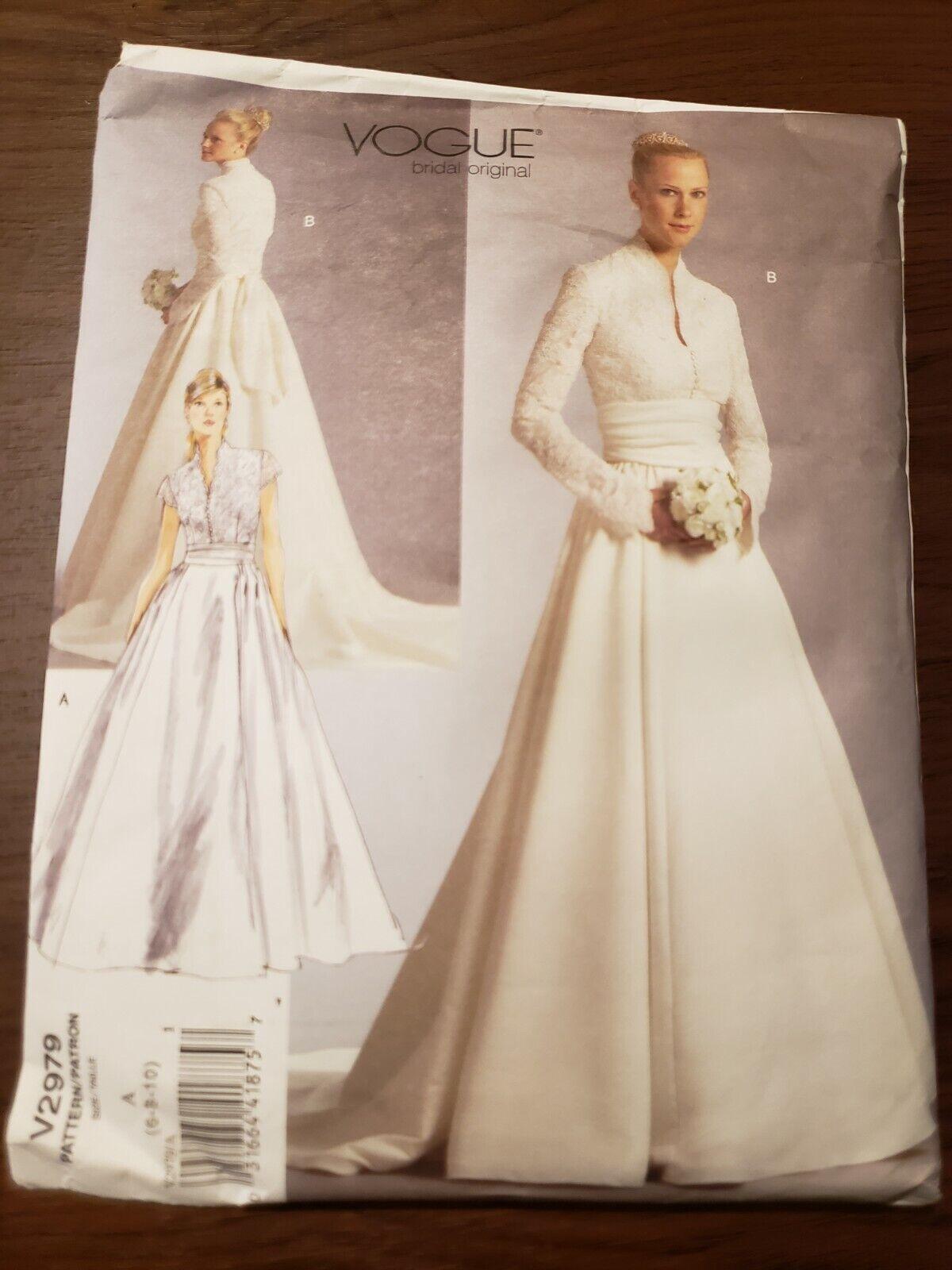 Vogue Bridal Original Pattern 2775 Wedding Gown Dress Uncut Sz 6 8 10 Bride For Sale Online Ebay