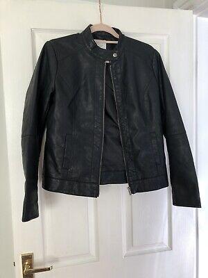 Jacqueline De Yong Ladies Black Faux Leather Biker Jacket Size 38 (sml size 12)