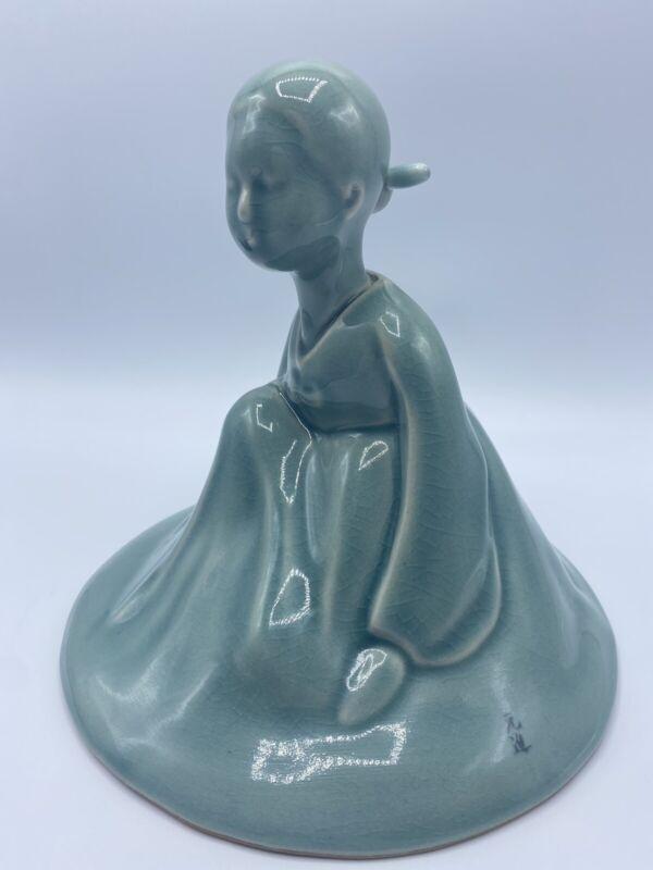 Korean Celadon Pottery Young Girl Kneeling Green Crackled Glazing Signed