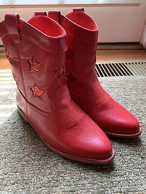 NWOT Girls Gymboree Sparkle Star Spangled Red Sparkle Cowboy Boots Size 2