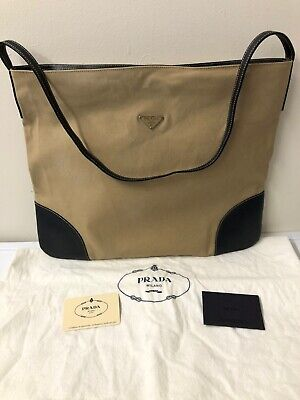 AUTHENTIC VINTAGE PRADA CANAPA CANVAS & LEATHER HANDBAG BAG