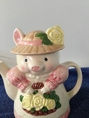 Vintage Pig Piggy  Hand Painted Ceramic Tea Pot Flower basket