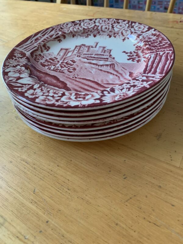 Enoch Woods English Scenery Pink By Woods & Sons Bread & Butter Plates 8.